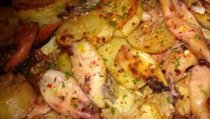 Lignje s krumpirom iz pečnice